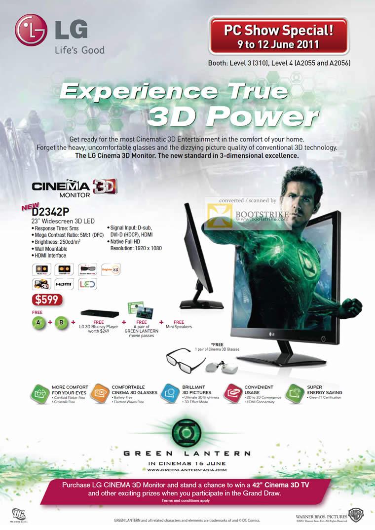 PC Show 2011 price list image brochure of LG Monitors LED Cinema 3D D2342P