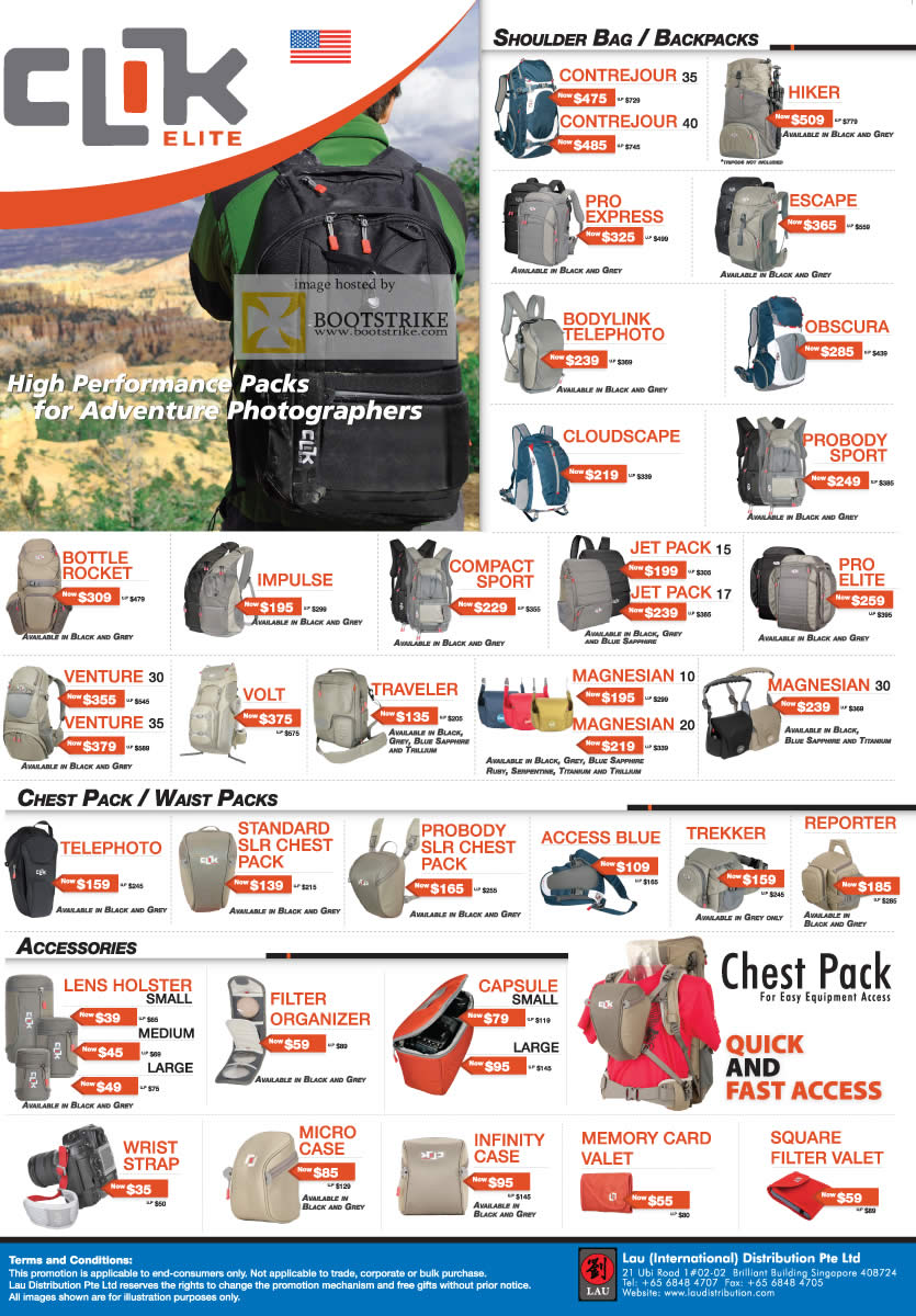 PC Show 2011 price list image brochure of Lau Intl Clik Bags Contrejour Hiker Escape Cloudscape Impulse Pro Elite Magnesian Telephoto Micro Case