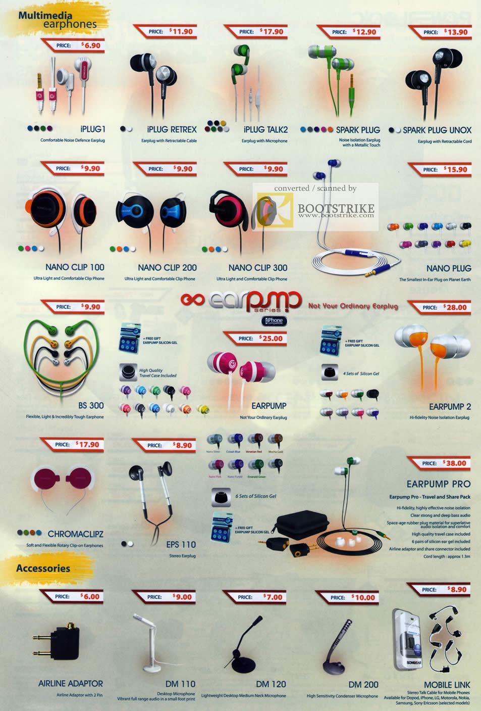 PC Show 2011 price list image brochure of Leapfrog Powerlogic Earphones IPLUG Retrex Talk2 Spark Unox Nano Clip Plug BS 300 Earpump Chromaclipz EPS Pro DM Airline Adaptor