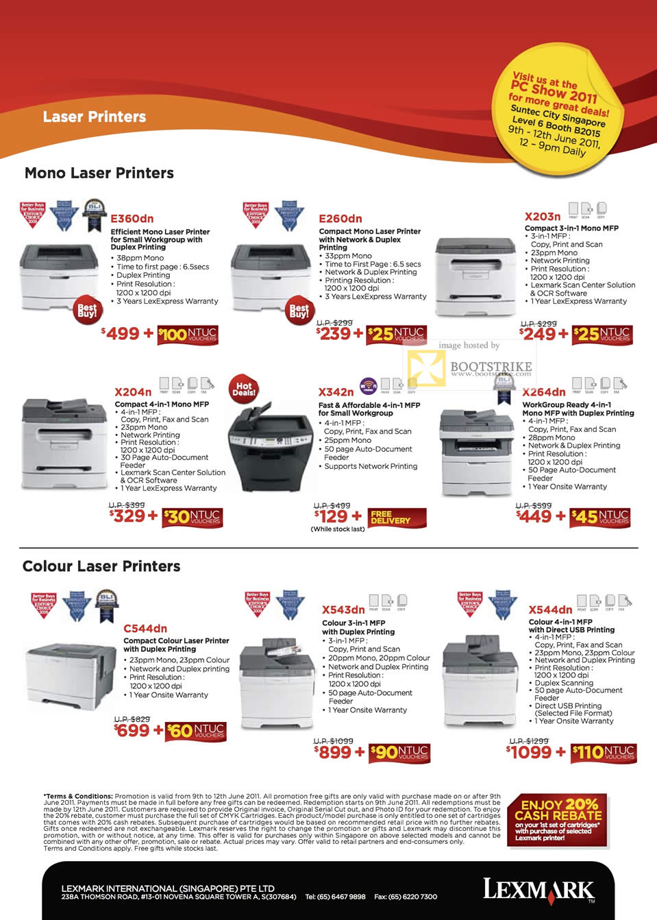 PC Show 2011 price list image brochure of Lexmark Printers Laser Mono E360dn E260dn X203n X204n X342n X264dn Colour C544dn X543dn X544dn Workgroup USB Network
