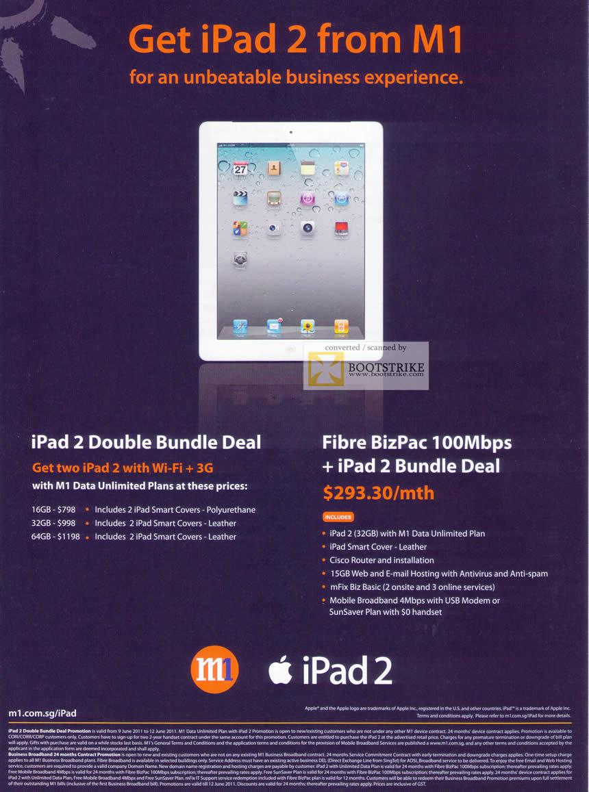 PC Show 2011 price list image brochure of M1 Business Apple IPad 2 Double Bundle Deal Wi-Fi 3G Fibre BizPac 100Mbps
