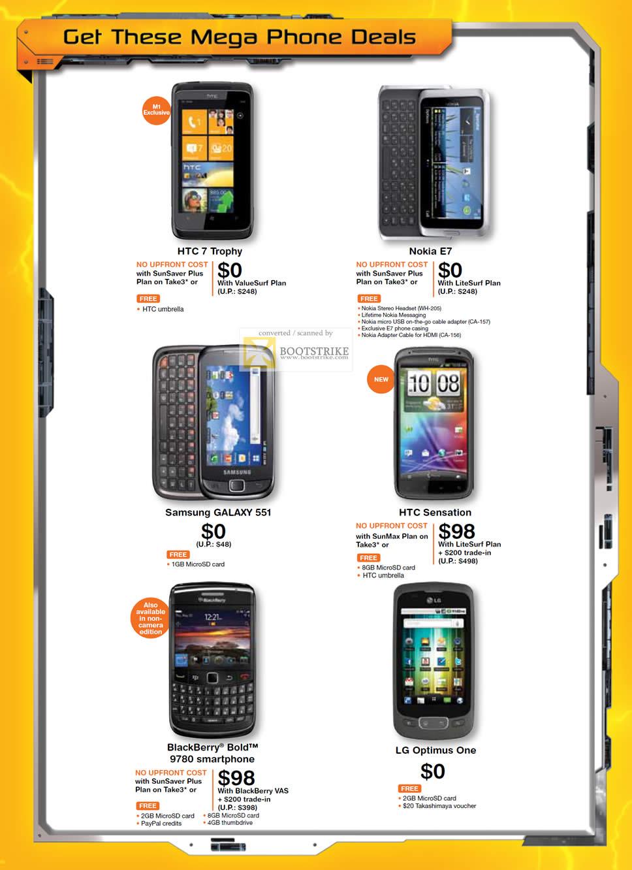 PC Show 2011 price list image brochure of M1 Mobile Phones HTC 7 Trophy Nokia E7 Samsung Galaxy 551 HTC Sensation Blackberry Bold 9780 LG Optimus One