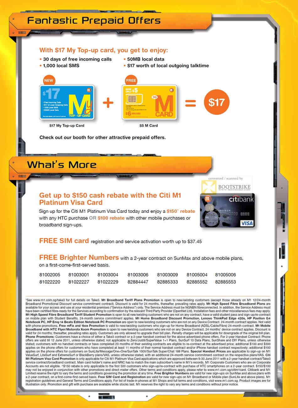 PC Show 2011 price list image brochure of M1 Prepaid My Top-Up Card M Card Citi M1 Platinum Visa