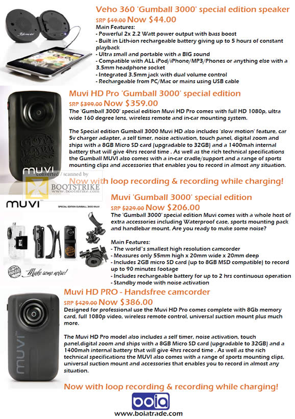 PC Show 2011 price list image brochure of Mojito Innov Veho 360 Gumball 3000 Speaker HD Pro Muvi HD Pro Camcorder Handsfree