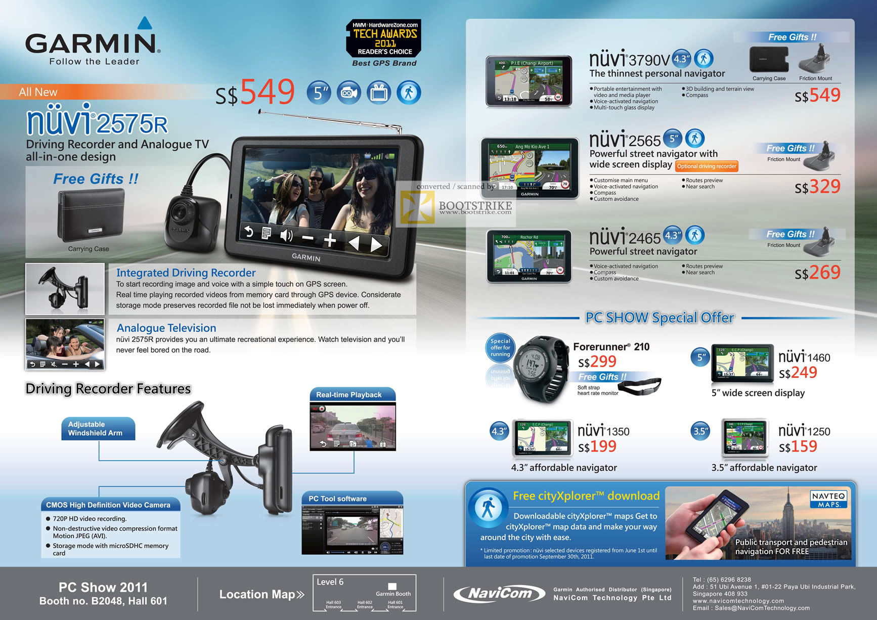 PC Show 2011 price list image brochure of Navicom Garmin GPS Navigation Nuvi 2575R TV 3790V 2565 2465 1350 1460 1250 Forerunner 210