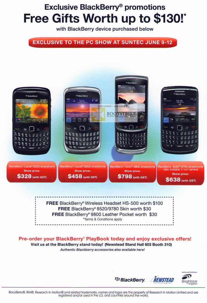 PC Show 2011 price list image brochure of Newstead Blackberry Smartphones Mobile Phones Curve 8520 9300 9800 9780 PlayBook