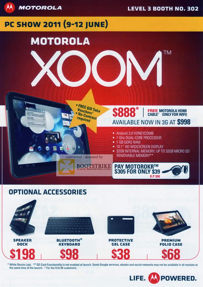PC Show 2011 price list image brochure of Nubox Motorola Mobile Phones Xoom Android Accessories Speaker Dock Bluetooth Keyboard Case Folio