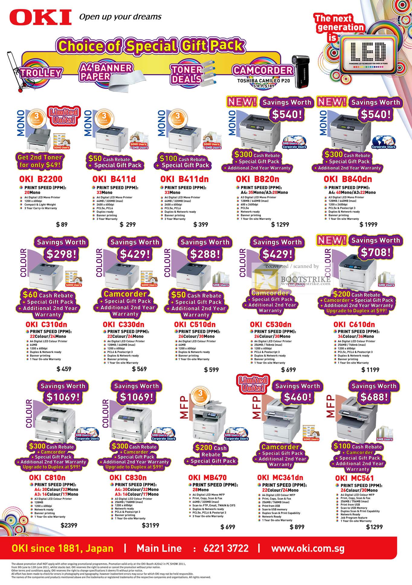 PC Show 2011 price list image brochure of OKI Printers LED Mono Colour B2200 B411d B411dn B820n B840dn C310dn C330dn C510dn C530dn C610dn C810n C830n MB470 MC361dn MC561