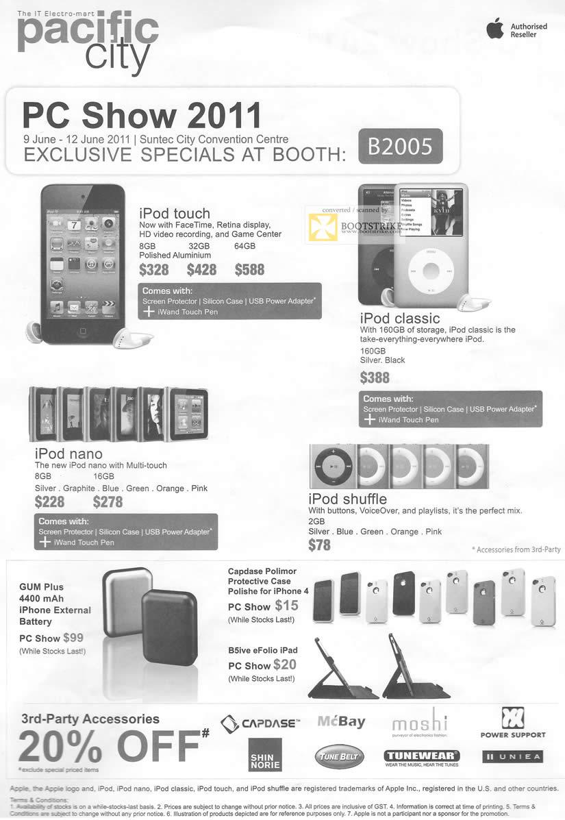 PC Show 2011 price list image brochure of Pacific City Apple IPod Touch Classic Nano Shuffle GUM Plus Capdase Polimore Polishe IPhone 4 B5ive EFolio IPad
