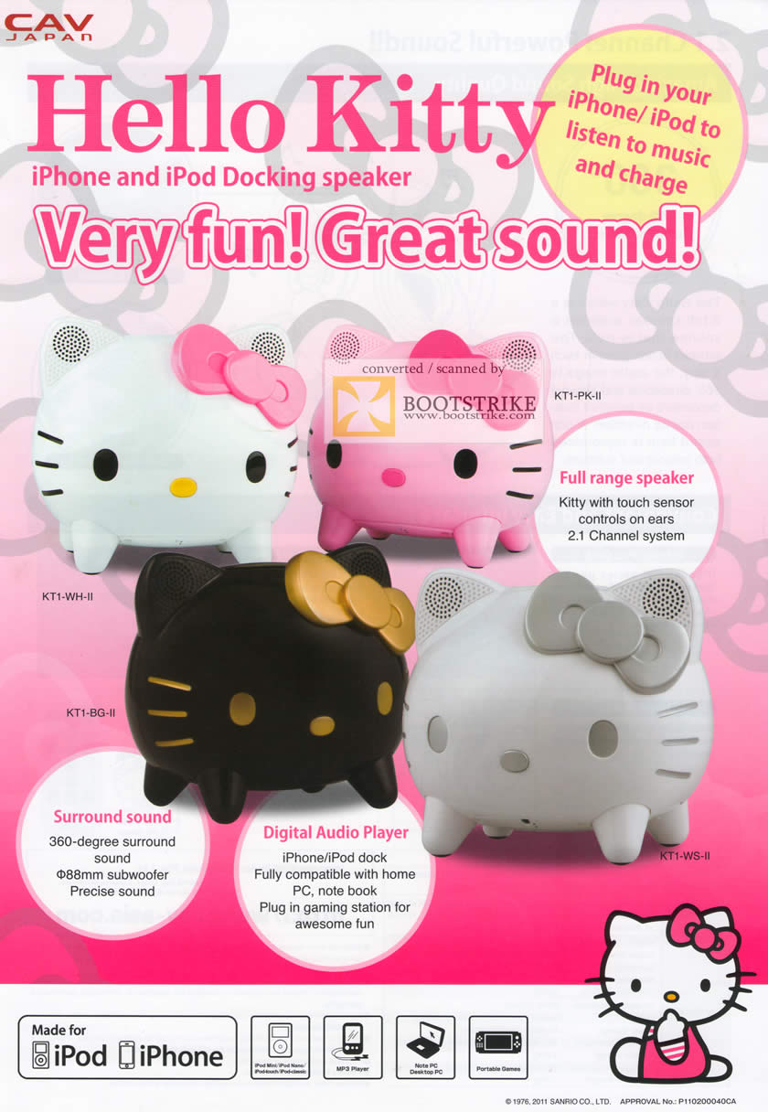 PC Show 2011 price list image brochure of Pacific City Hello Kitty IPhone IPod Docking Speaker Features