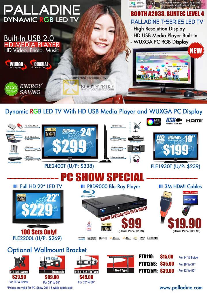 PC Show 2011 price list image brochure of Palladine LED TV PLE2400T PLE1930T PLE2200L PBD9000 Blu Ray Player Wallmount Bracket PTB110 PTB125S PTB125M