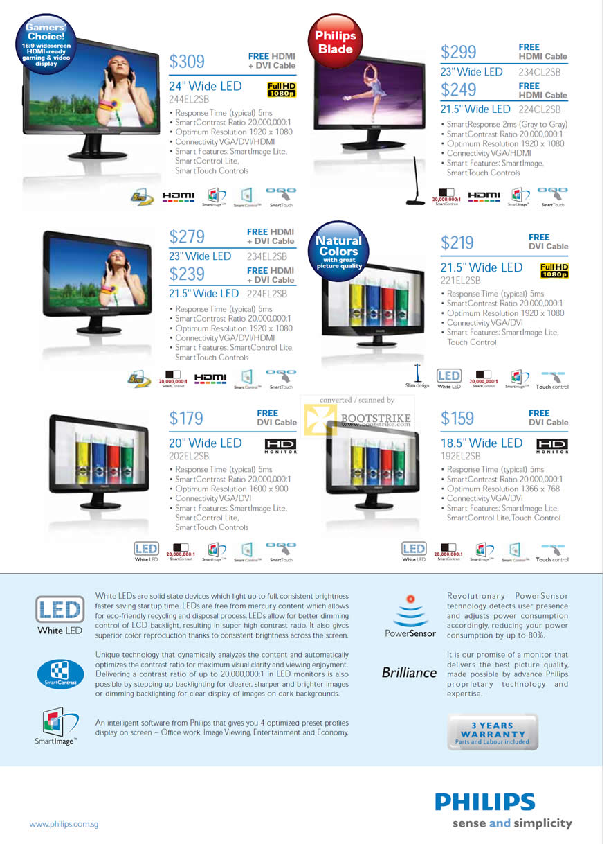PC Show 2011 price list image brochure of Philips Monitors LED 244EL2SB 234CL2SB 224CL2SB 234EL2SB 224EL2SB 221EL2SB 202EL2SB 192EL2SB