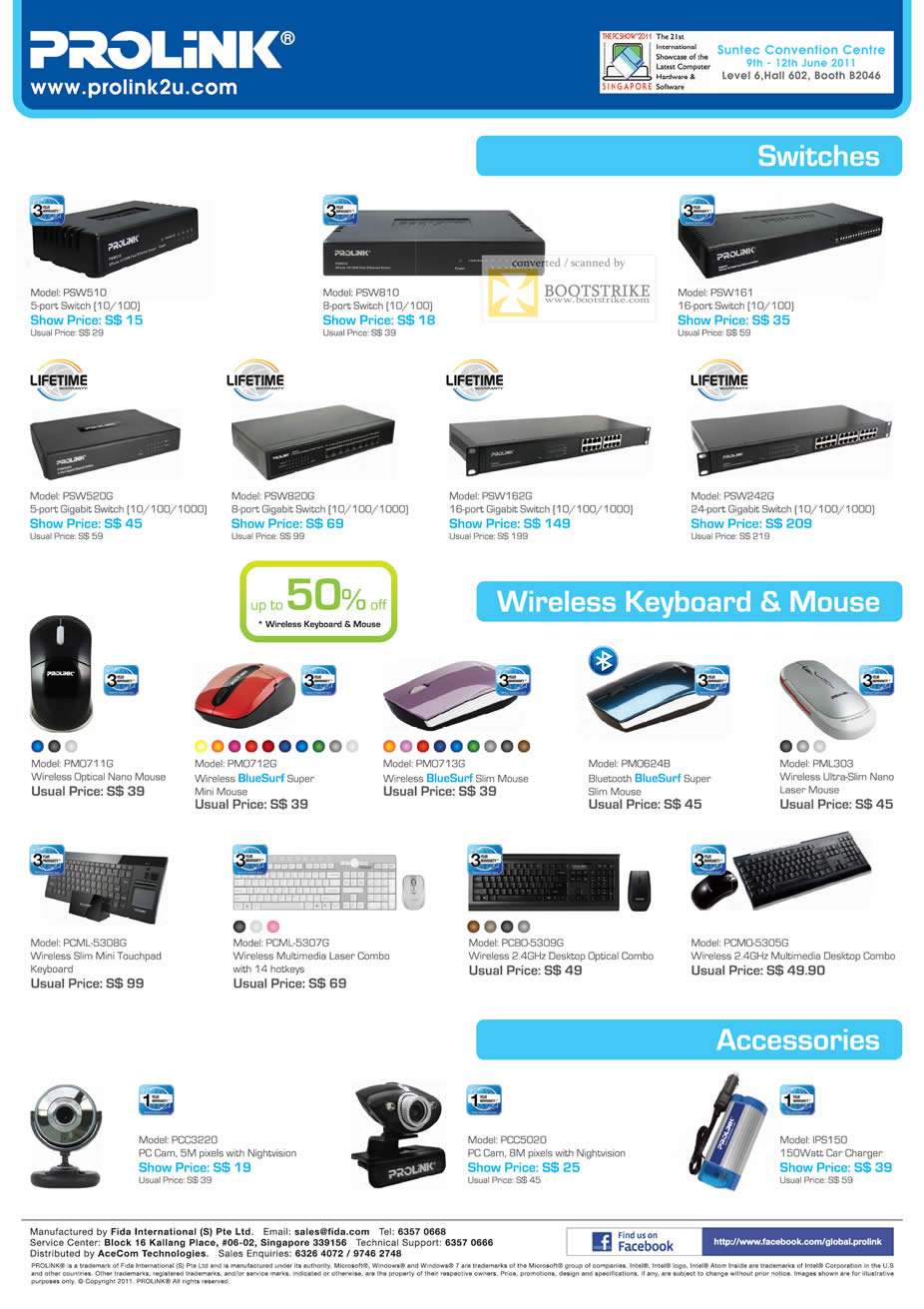 PC Show 2011 price list image brochure of Prolink Networking Switches Wireless Keyboard Mouse Accessories Webcam