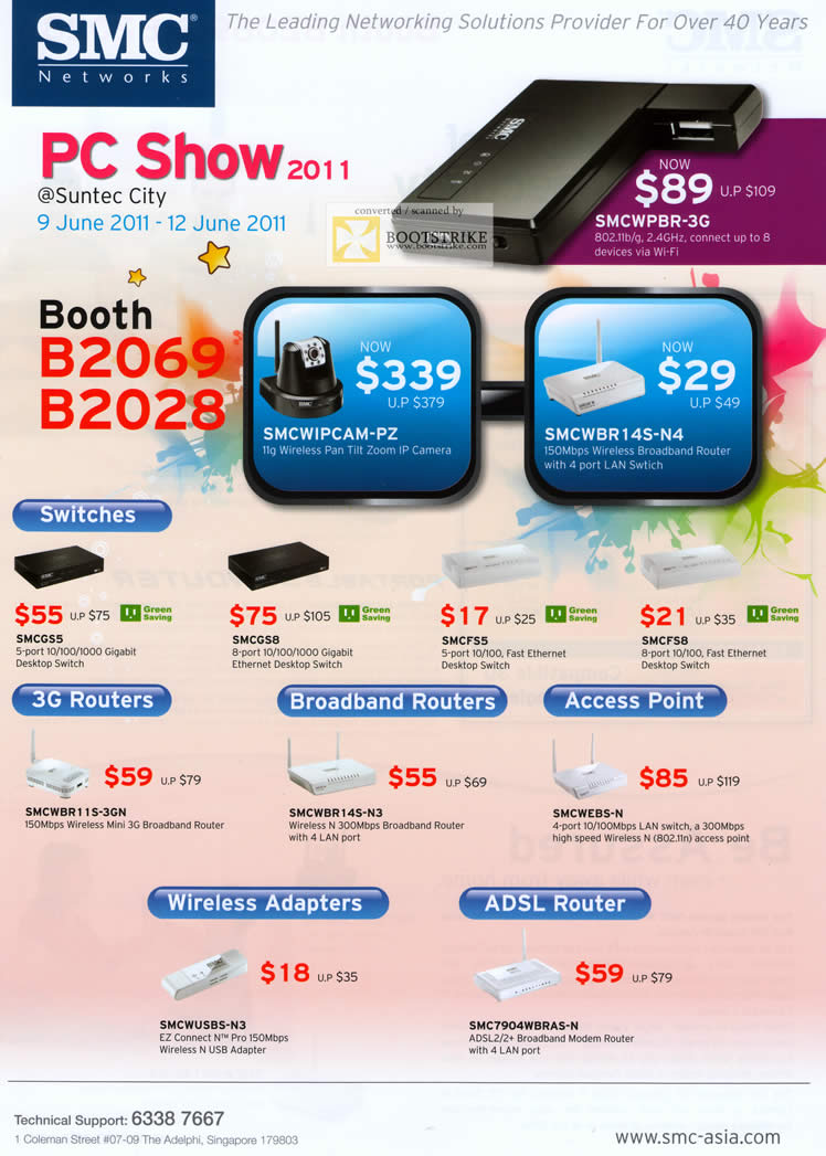 PC Show 2011 price list image brochure of SMC Networks Switches SMCGS5 GS8 FS5 FS8 WBR11S-3GN WBR14S-N3 WEBS-N WUSBS-N3 WBRAS-N ADSL Router Wireless Adapter 3G