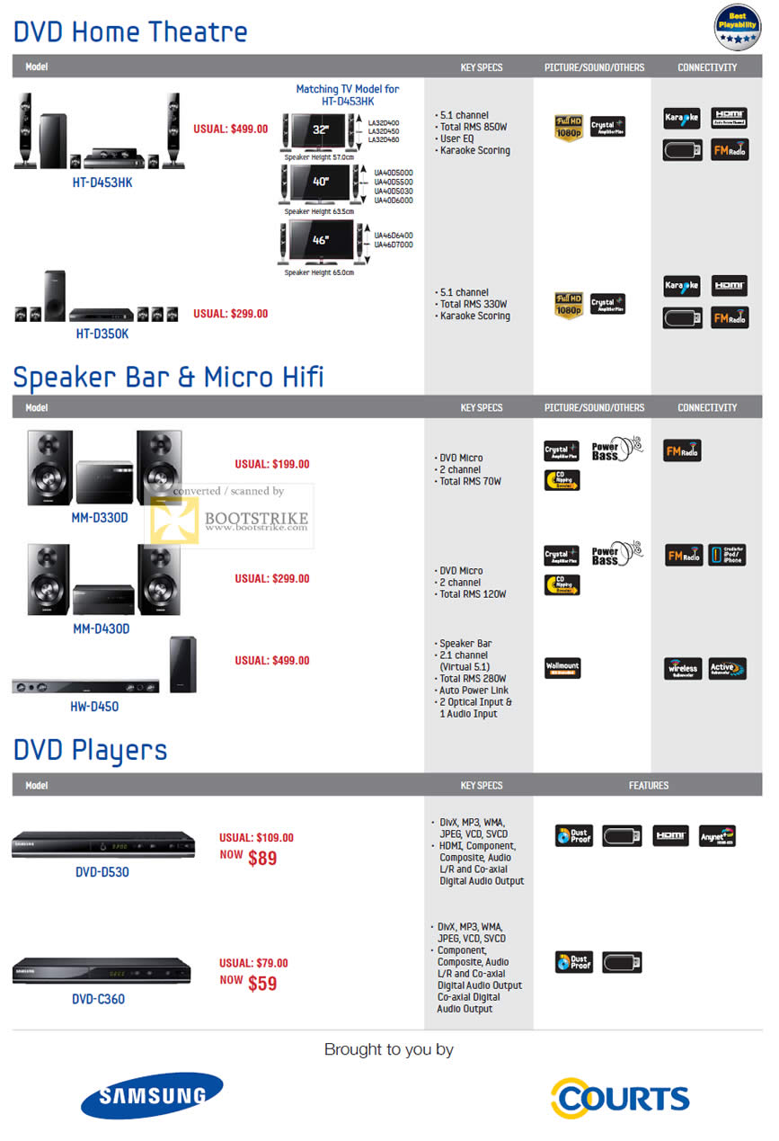 PC Show 2011 price list image brochure of Samsung Courts DVD Home Theatre Speaker Bar Micro Hifi DVD Players