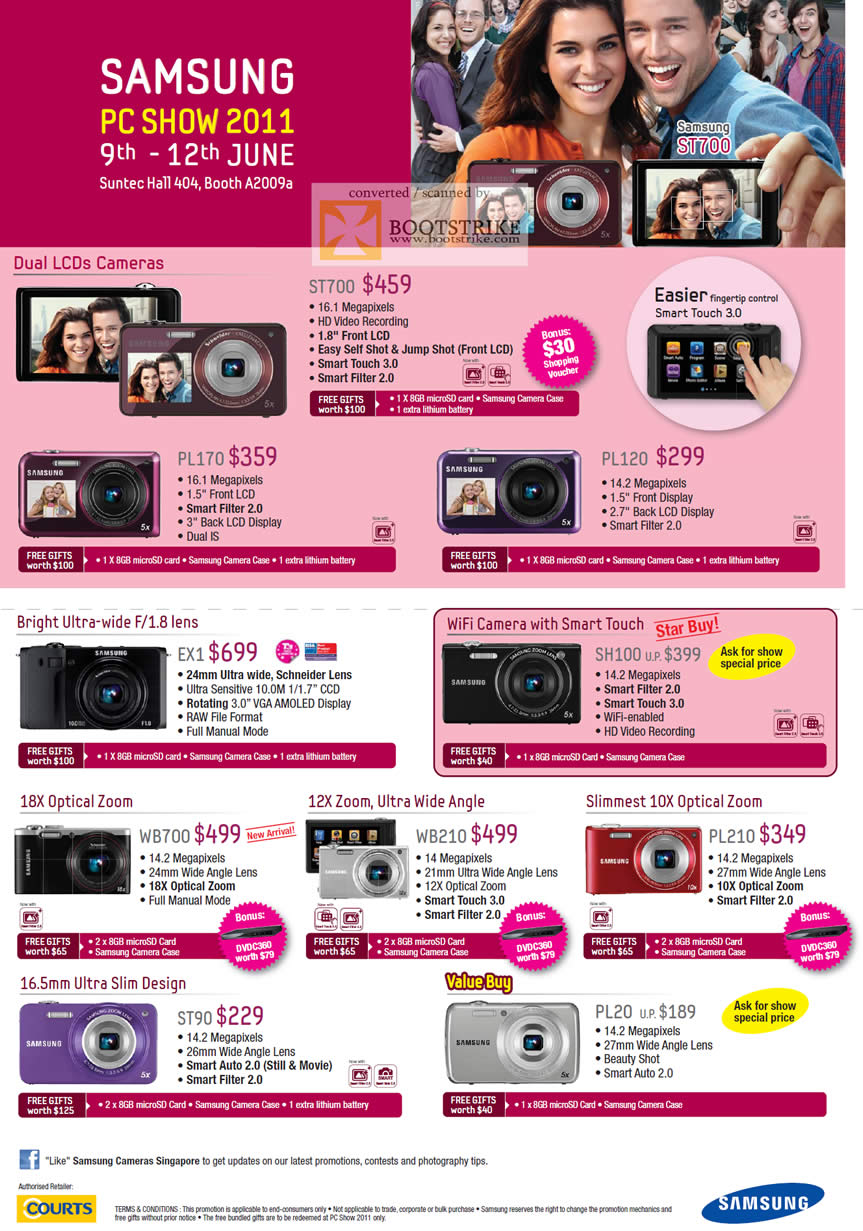 PC Show 2011 price list image brochure of Samsung Digital Cameras Dual LCDs ST700 PL170 PL120 EX1 WB700 WB210 PL210 ST90 PL20 SH100