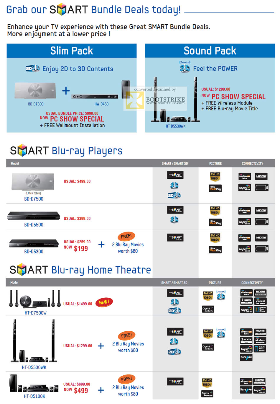 PC Show 2011 price list image brochure of Samsung Mega Discount Bundle Deals Blu Ray Players Home Theatre Systems
