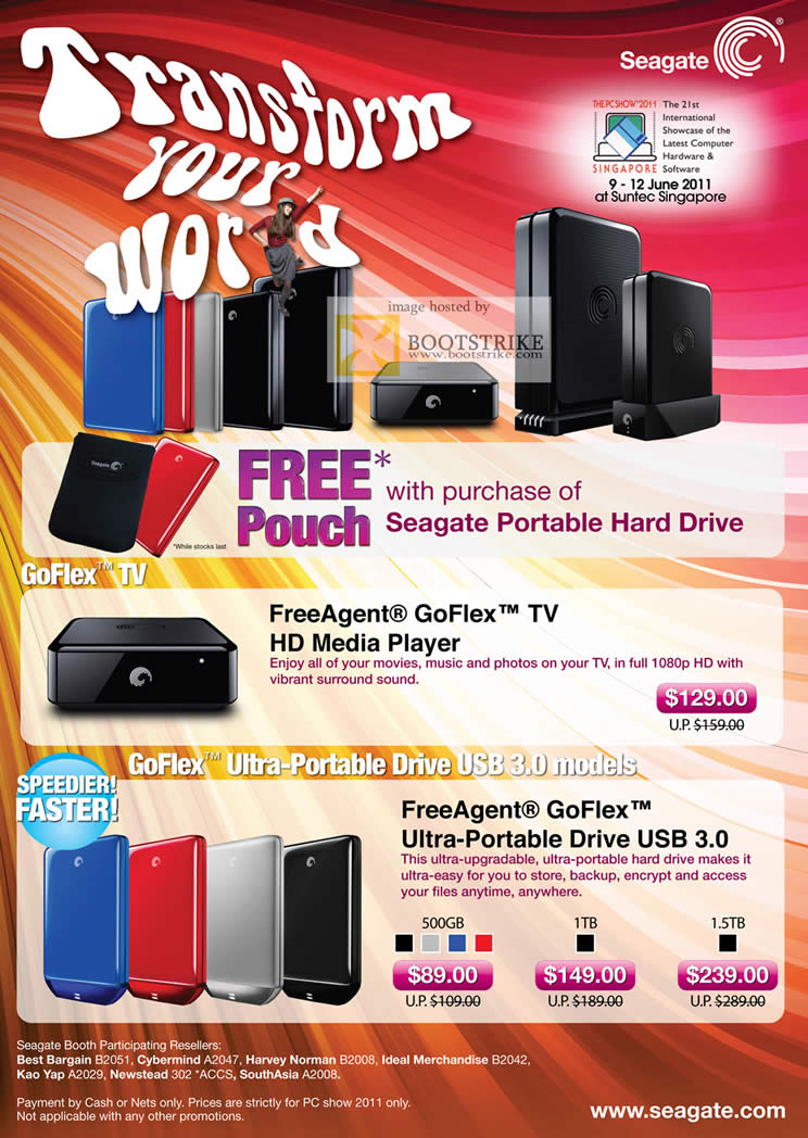 PC Show 2011 price list image brochure of Seagate FreeAgent GoFlex TV Media Player Ultra-Portable External Storage USB 3