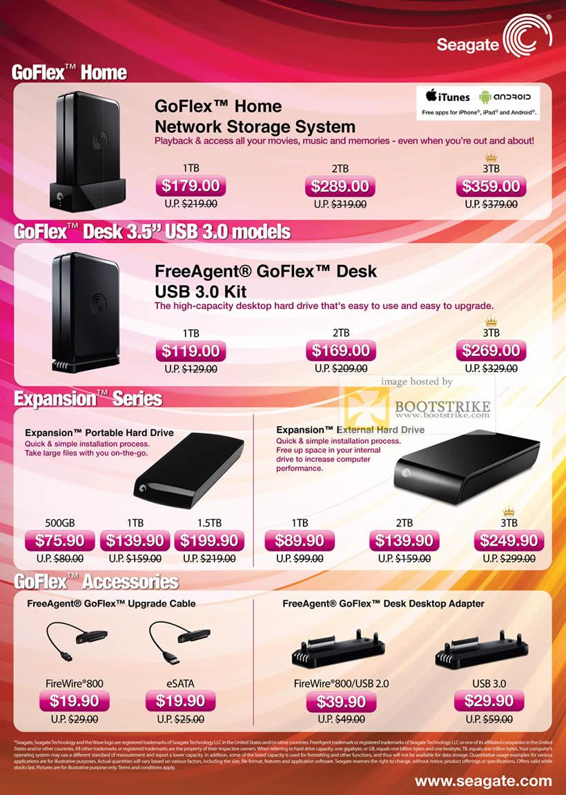 PC Show 2011 price list image brochure of Seagate NAS External Storage GoFlex Home NAS FreeAgent Desk Expansion Portable External Accessories Desktop Adapter