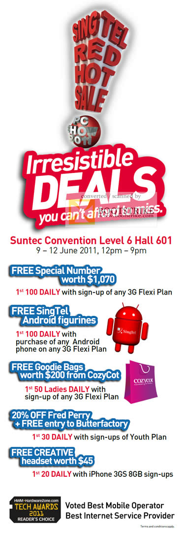 PC Show 2011 price list image brochure of Singtel Deals Free Special Number Android Figurines Goodie Bags CozyCot Fred Perry Butterfactory Creative Headset