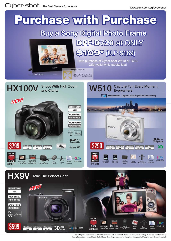 PC Show 2011 price list image brochure of Sony Digital Cameras Cybershot DSC HX100V W510 HX9V