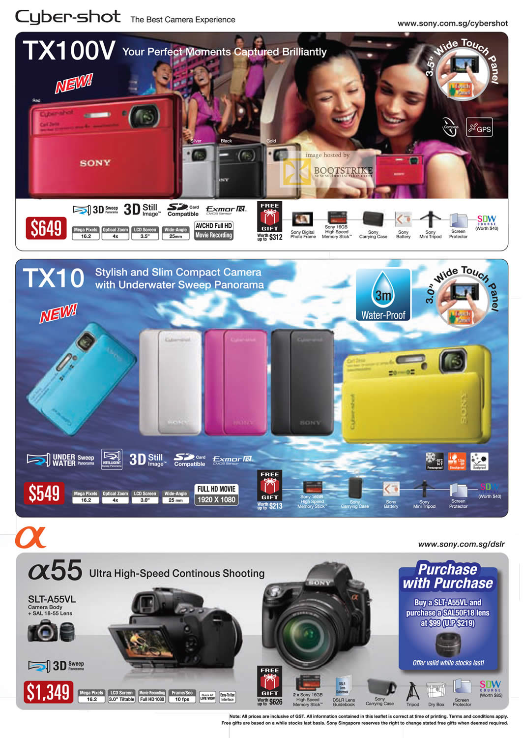 PC Show 2011 price list image brochure of Sony Digital Cameras Cybershot DSC TX100V TX10 Alpha 55 SLT-A55VL