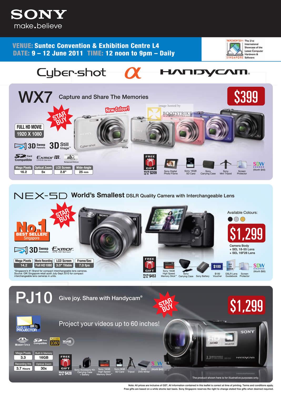 PC Show 2011 price list image brochure of Sony Digital Cameras Cybershot DSC WX7 NEX-5D HDR PJ10 Handycam Camcorder Exmor