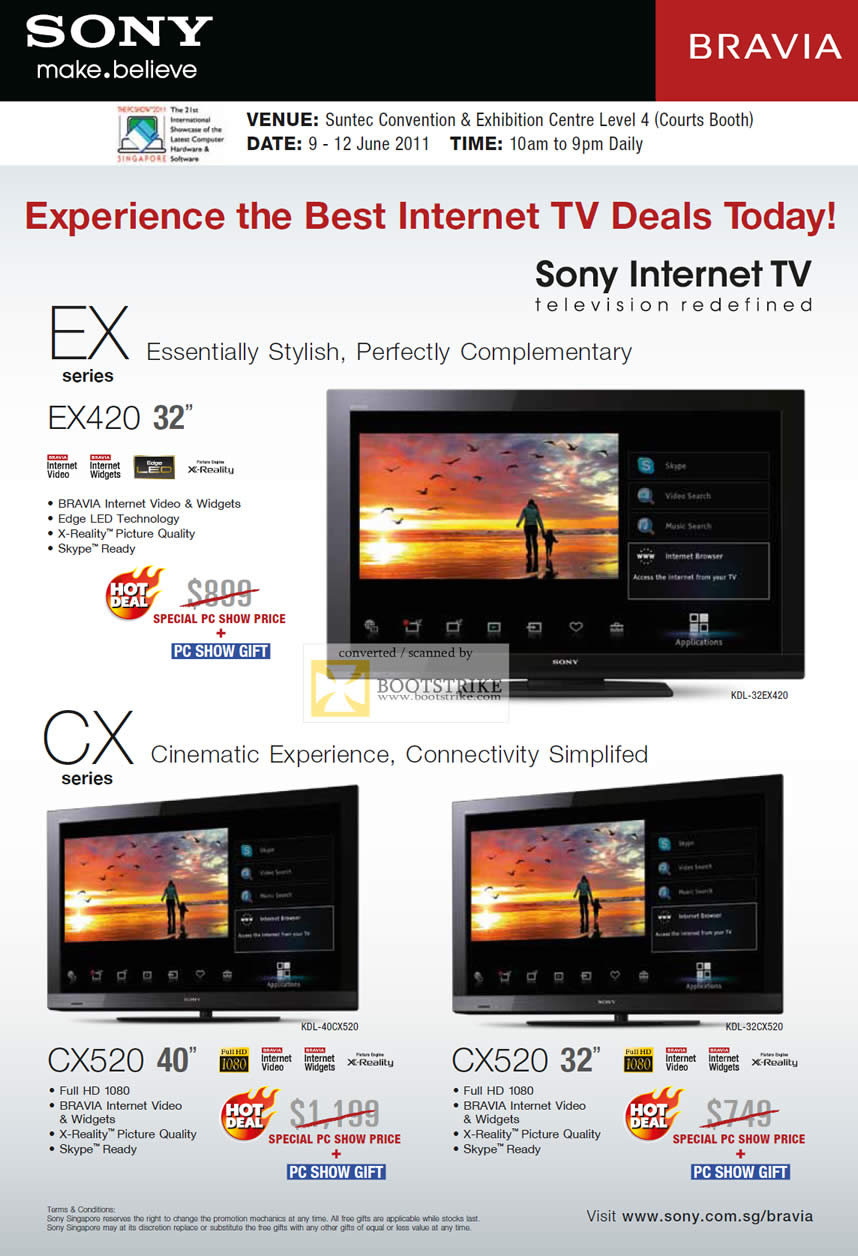 PC Show 2011 price list image brochure of Sony Internet TV Bravia EX420 CX520 CX Series EX Series X-Reality