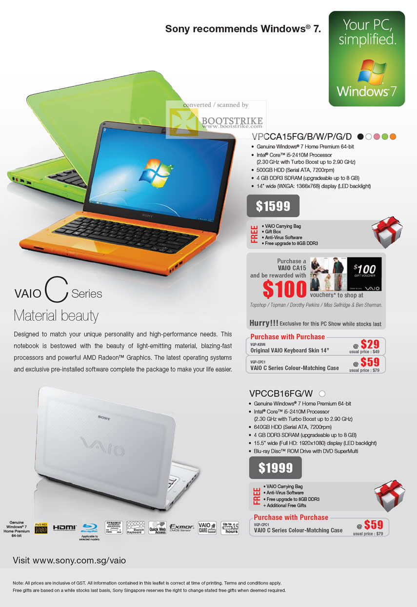 PC Show 2011 price list image brochure of Sony Notebooks Vaio C Series VPCCA15FG B W P G D VPCCB16FG W
