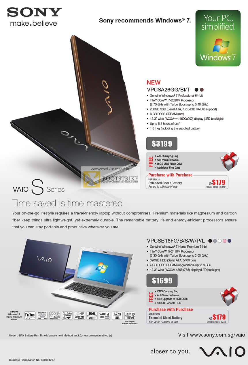 PC Show 2011 price list image brochure of Sony Notebooks Vaio S Series VPCSA26GG BI T VPCSB16FG B S W P L