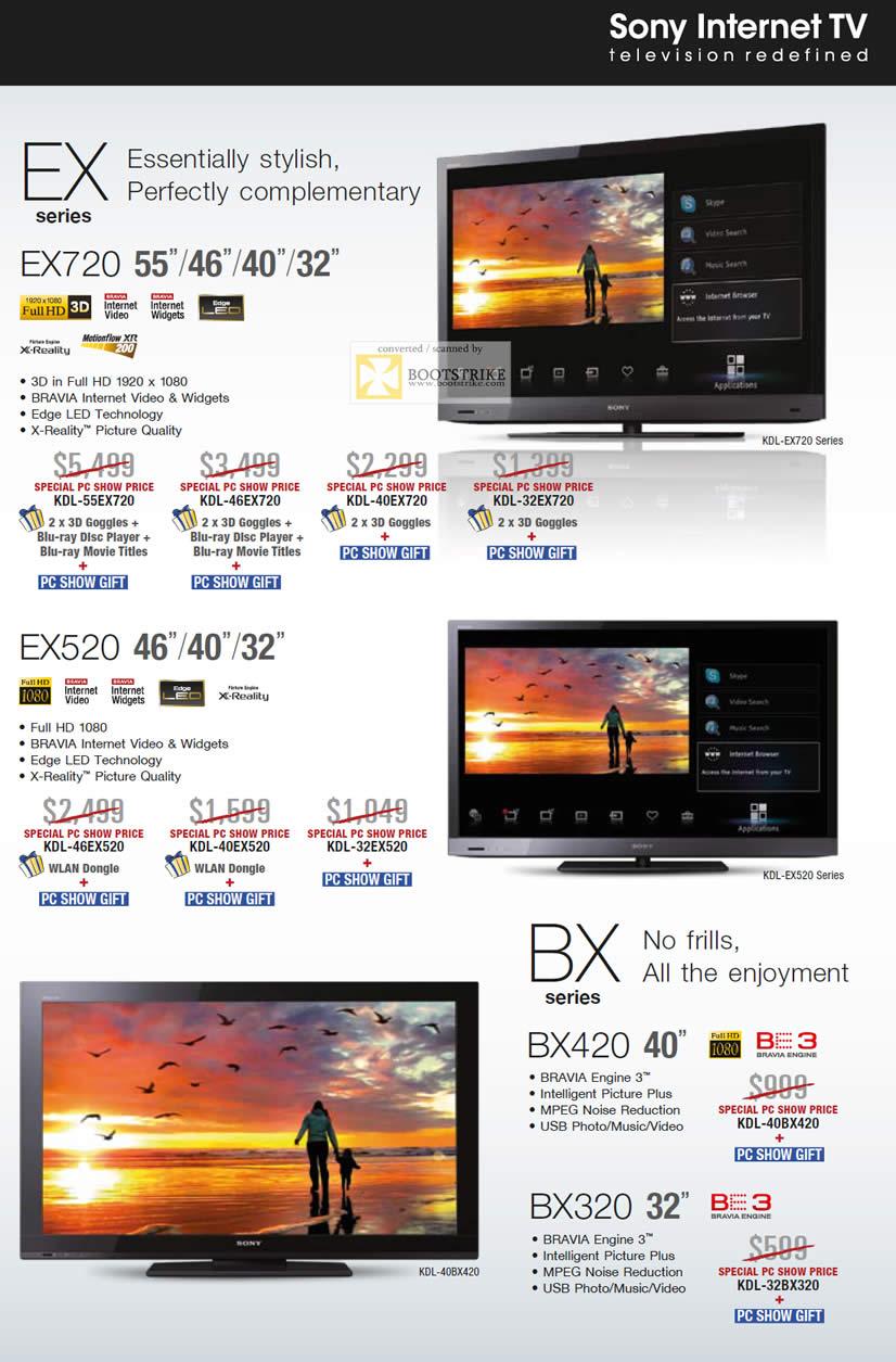 PC Show 2011 price list image brochure of Sony TV EX Series EX720 EX520 BX Series BX420 BX320 Bravia X-Reality KDL 55EX720 46EX720 40EX720 32EX720 46EX520 40EX520 32EX520 40BX420 32BX320