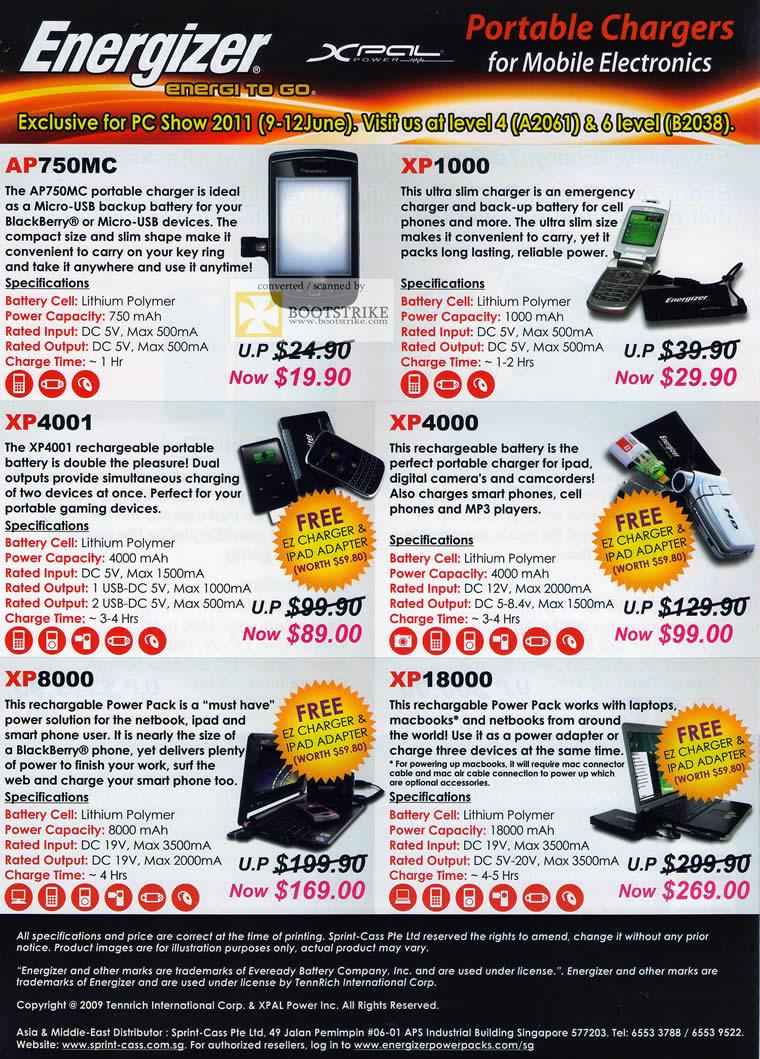 PC Show 2011 price list image brochure of Sprint Cass Energizer Portable Charger AP750MC XP1000 XP4001 XP4000 XP18000 XP8000