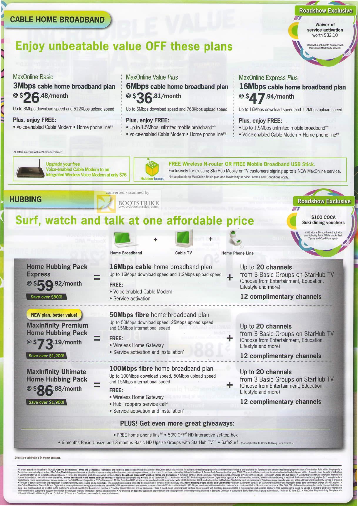 PC Show 2011 price list image brochure of Starhub Broadband Cable Maxonline Basic Value Plus Express Hubbing MaxInfinity Fibre