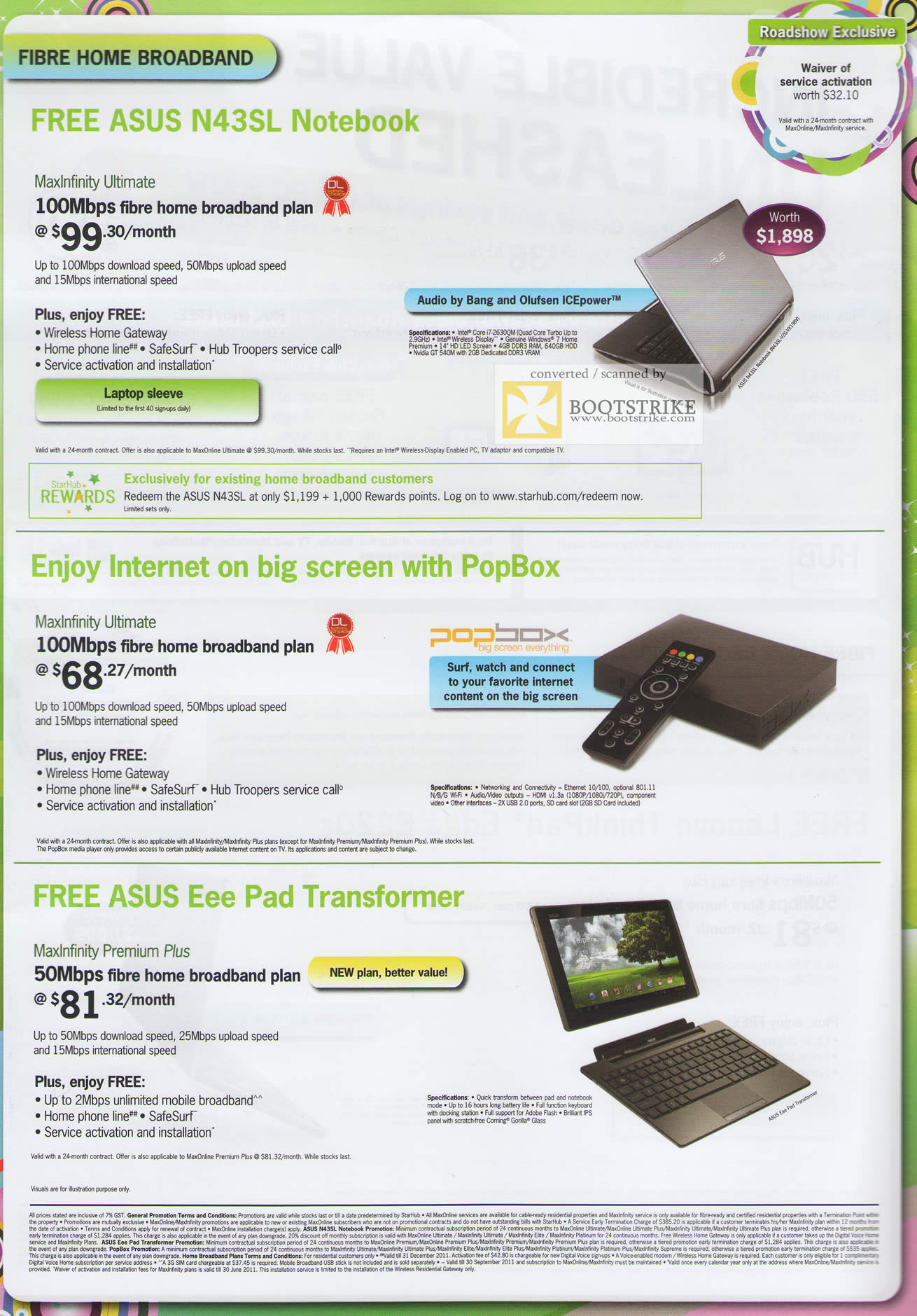 PC Show 2011 price list image brochure of Starhub Broadband Fibre Home ASUS N43SL Notebook PopBox ASUS Eee Pad Transformer MaxOnline Premium Plus