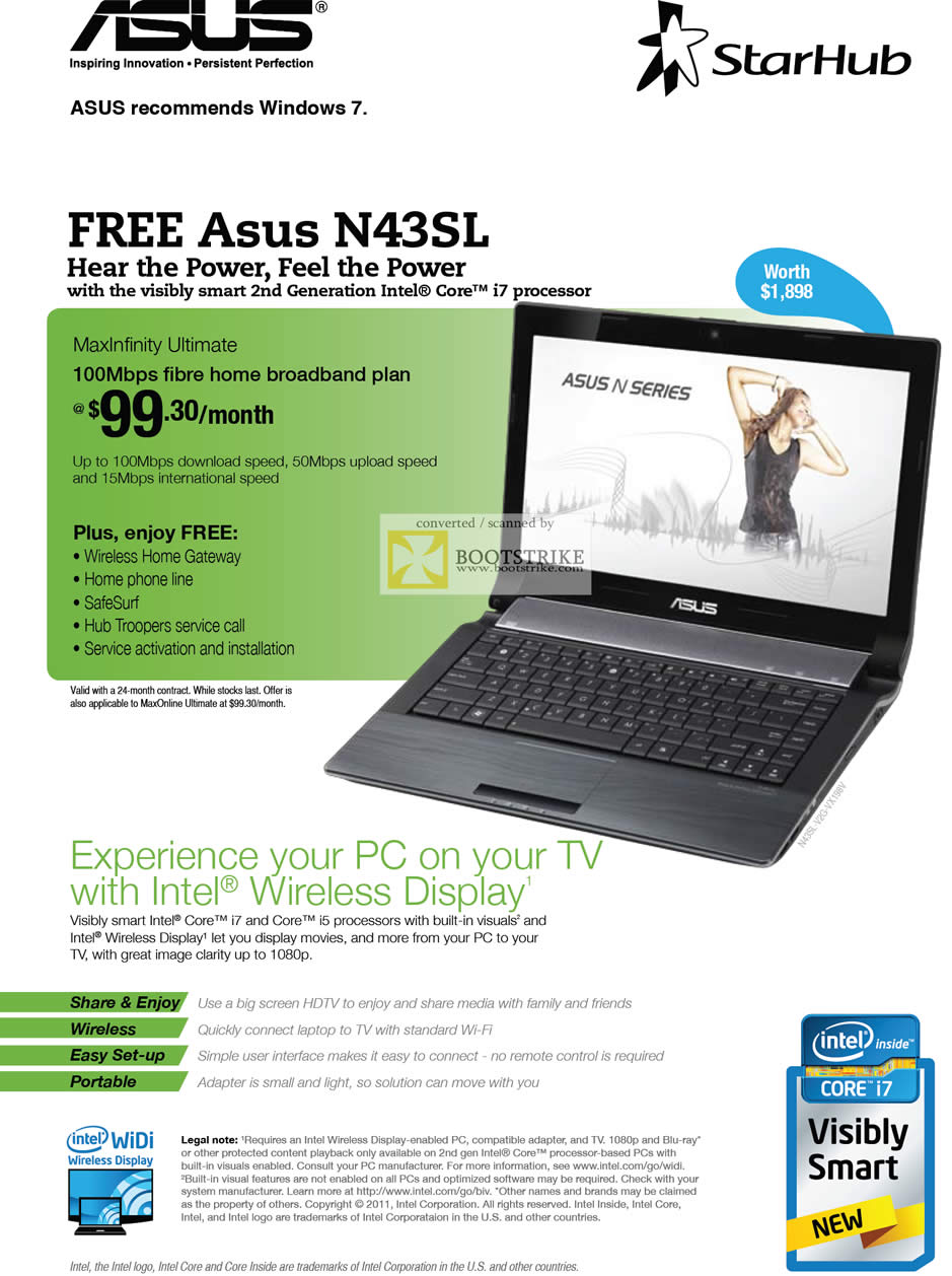 PC Show 2011 price list image brochure of Starhub Broadband MaxInfinity Ultimate 100Mbps ASUS N42SL Intel Wireless Display