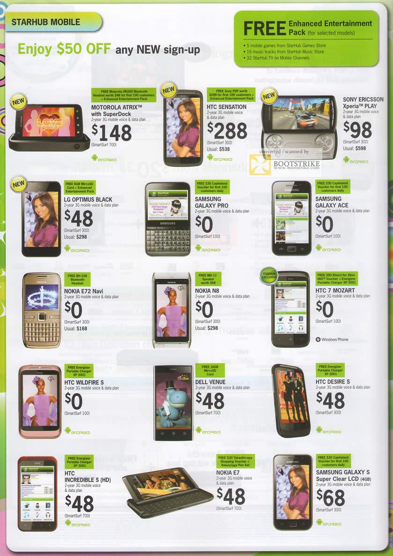PC Show 2011 price list image brochure of Starhub Mobile Phones Motorola Atrix HTC Sensation SE Xperia Play LG Optimus Black Samsung Galxy Pro Ace E72 Navi N8 Mozart Wildfire S Dell Venue Desire Incredible E7