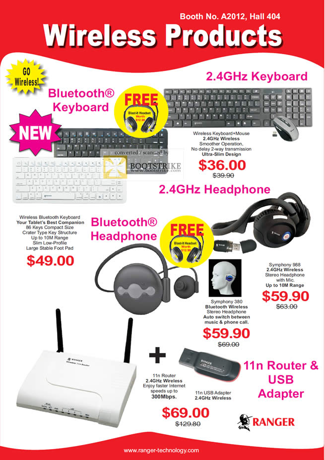 PC Show 2011 price list image brochure of System Tech Ranger Wireless Bluetooth Keyboard Headphone Router 11n USB Adapter Symphony 380