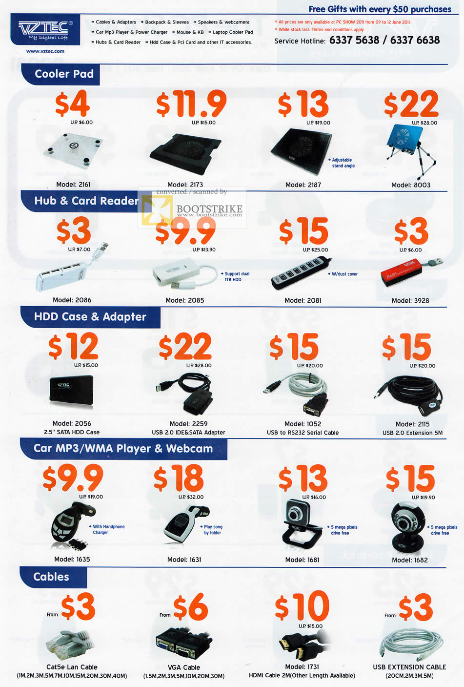 PC Show 2011 price list image brochure of Vztec Accessories Cooler Pad USB Hub Card Reader HDD Case Adapter IDE SATA Car MP3 Player WMA Webcam Cables VGA USB