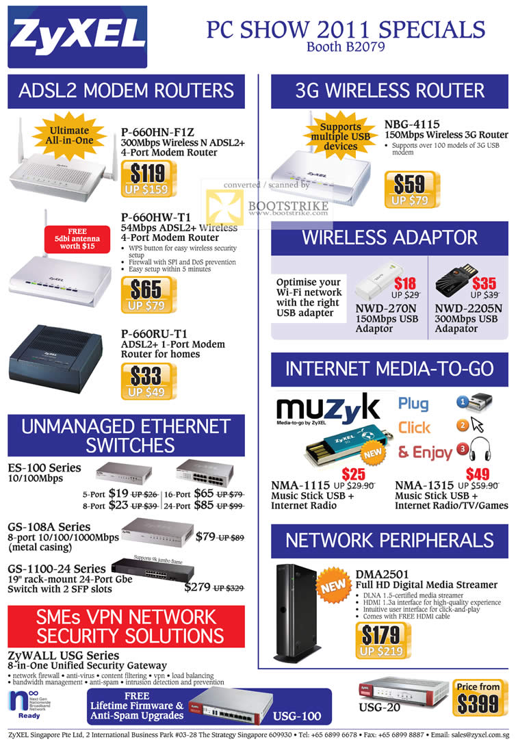 PC Show 2011 price list image brochure of ZyXEL Networking ADSL2 Modem Router 3G Wireless Adapter Switches Muzyk DMA2501 Media Streamer Business ZyWALL USG Security
