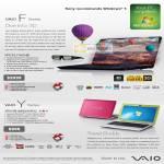 Notebooks Vaio F Series VPCF217HG BI Y Series VPCB16KG S P G