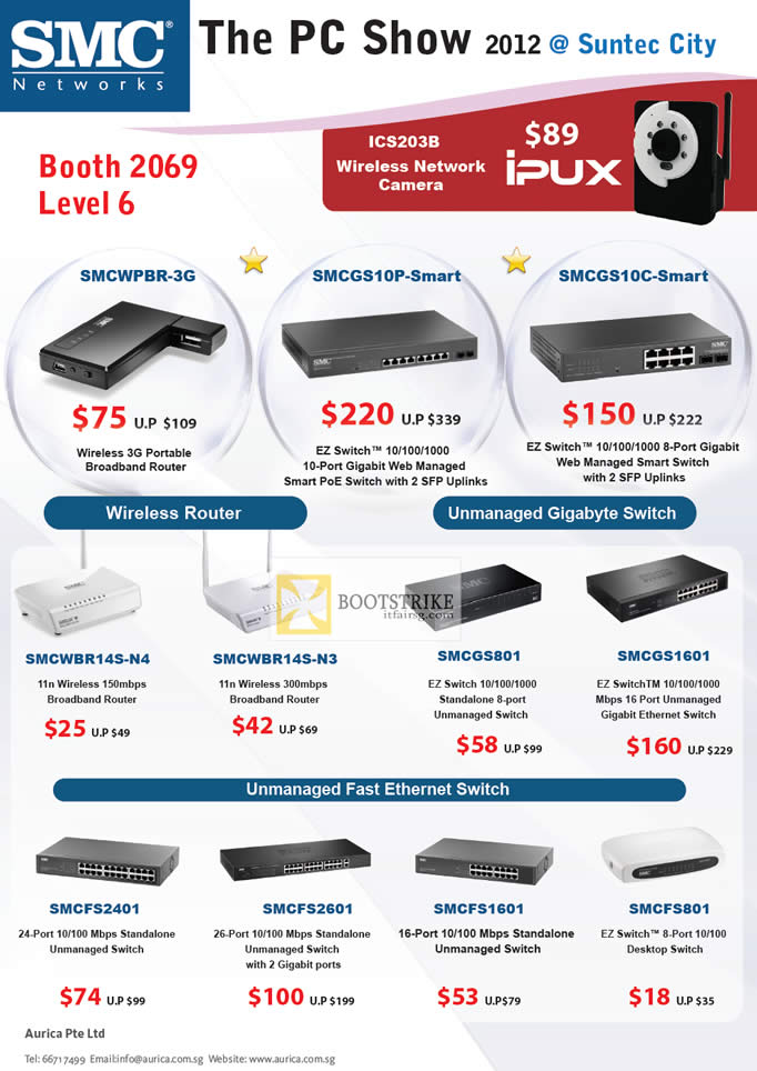 PC SHOW 2012 price list image brochure of Aurica SMC Networks Wireless 3G Router SMCWPBR-3G, Switch, Gigabyte Switch, Ethernet Switch, EZ Switch SMCGS10P-Smart, SMCGS10C-Smart