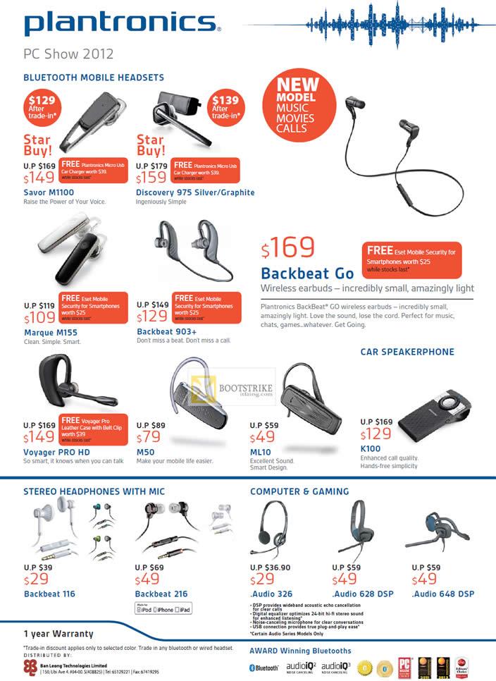 Ban Leong Plantronics Bluetooth Headsets Savor M1100