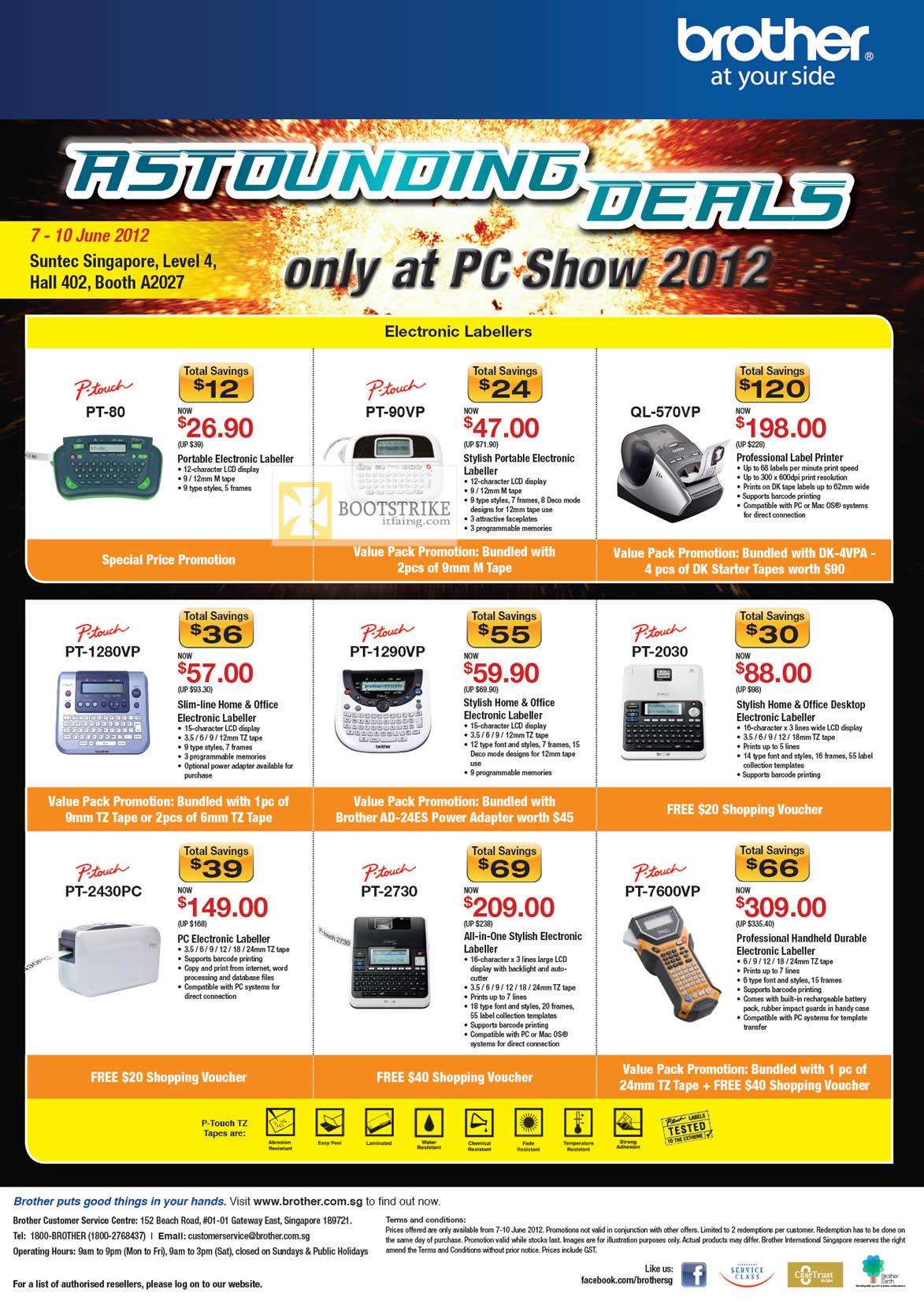 PC SHOW 2012 price list image brochure of Brother Labellers P-Touch PT-80, PT-90VP, QL-570VP, PT-2030, PT-1290VP, PT-1280VP, PT-7600VP, PT-2730, PT-2430PC