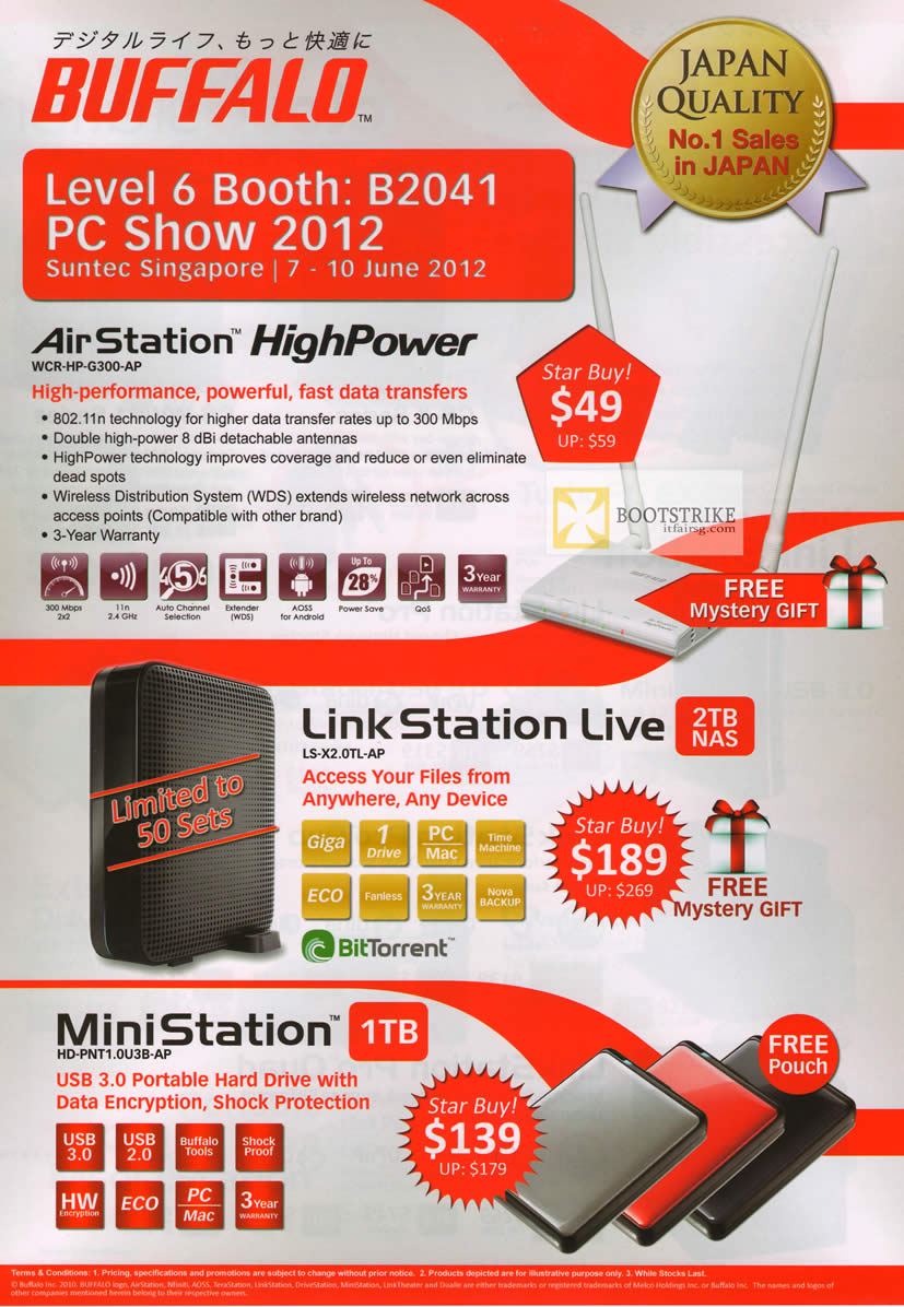 PC SHOW 2012 price list image brochure of Buffalo AirStation HighPower Wireless Router, LinkStation Live NAS, MiniStation External Storage