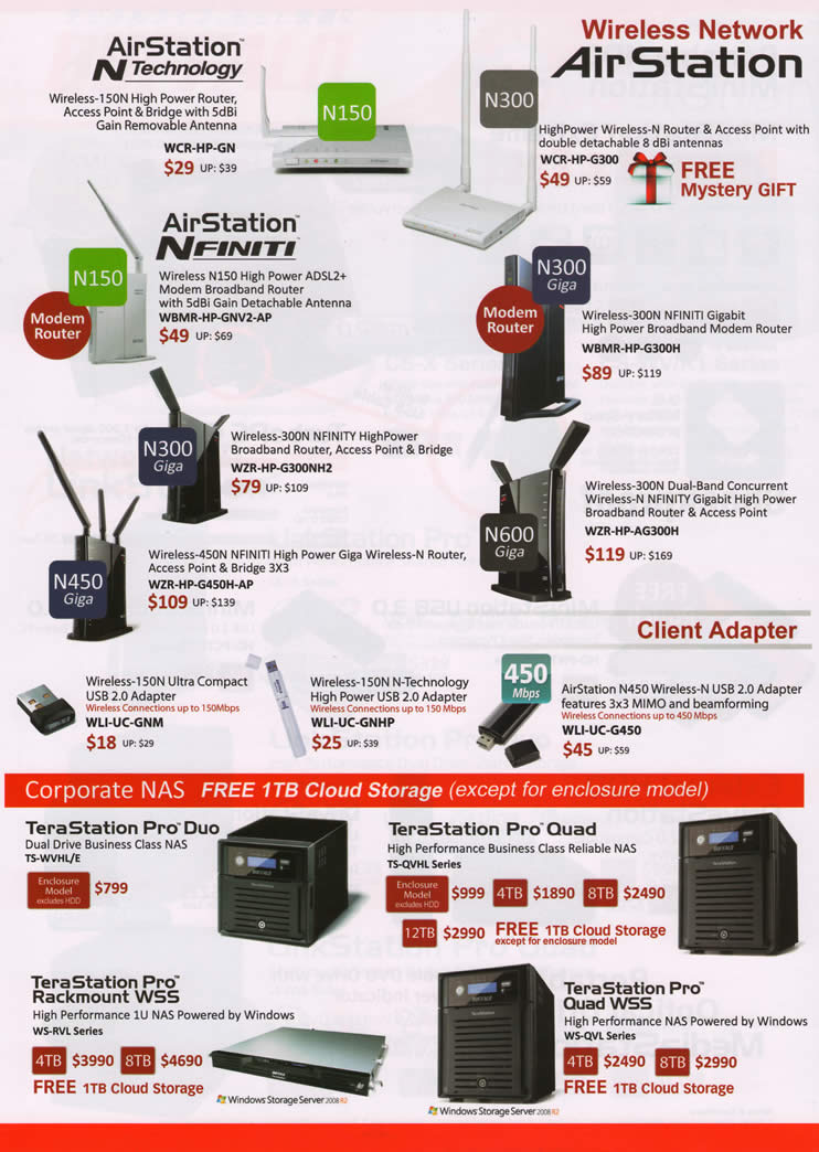PC SHOW 2012 price list image brochure of Buffalo Networking AirStation Wireless Router, Nfiniti, USB Adapter, TeraStation Pro Duo NAS, Quad, Rackmount WSS, Pro Quad WSS