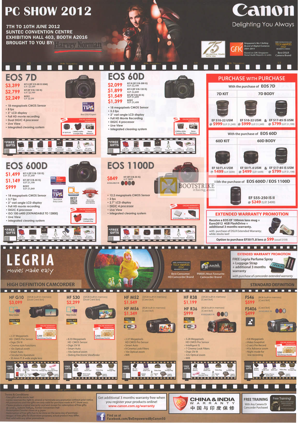 PC SHOW 2012 price list image brochure of Canon Digital Cameras DSLR EOS 7D, EOS 60D, EOS 600D, EOS 1100D, Video Camcorders HF G10, HFS30, HFM52, HFM56, HF R38, HF R36