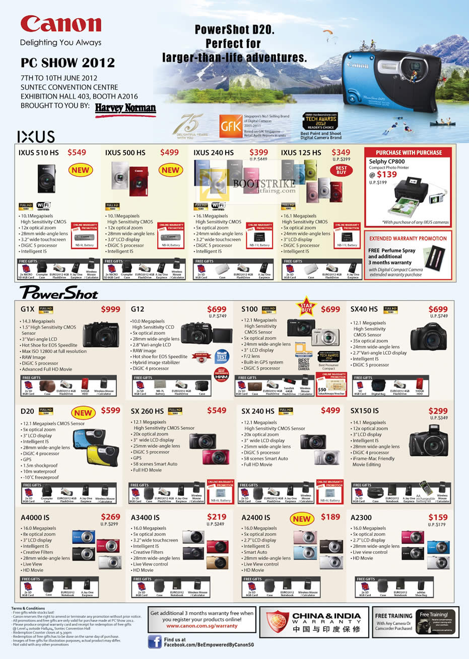 PC SHOW 2012 price list image brochure of Canon Digital Cameras IXUS 510HS, 500 HS, 240 HS, IXUS 125 HS, G1X, G12, S100, SX40 HS, D20