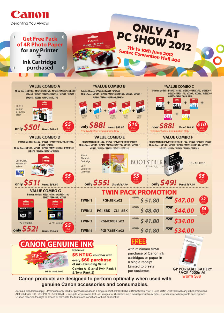 PC SHOW 2012 price list image brochure of Canon Ink Cartridge Value Combos