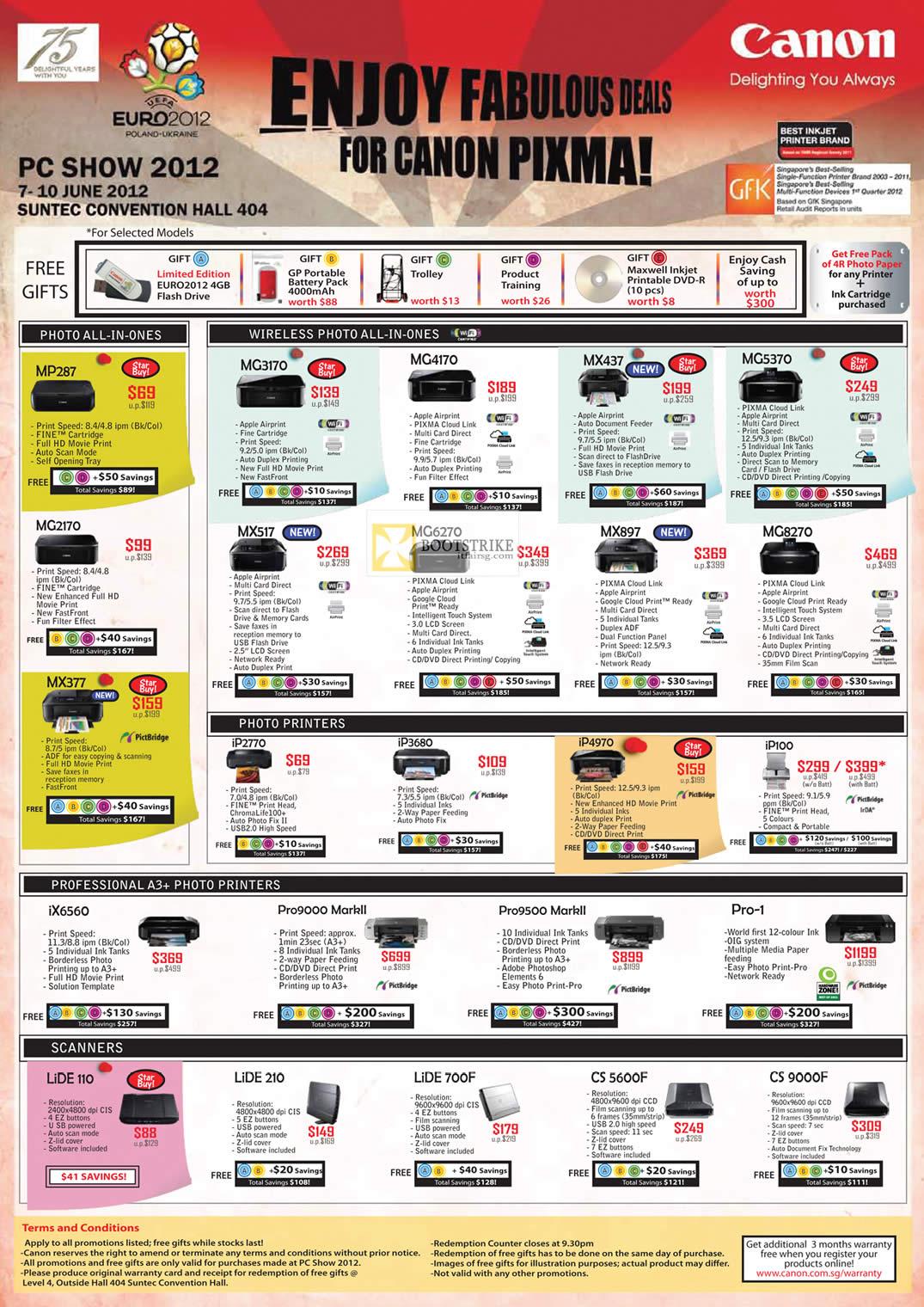 PC SHOW 2012 price list image brochure of Canon Printers Inkjet Pixma MP287, MC2170, MX377, MG3170, MG4170, MX437, MG5370, MG8270, MX897, MG6270, Scanners Lide