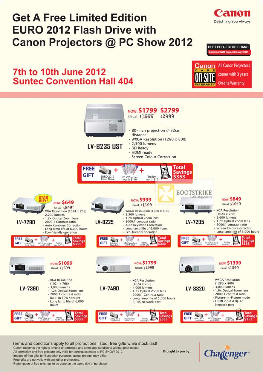 PC SHOW 2012 price list image brochure of Canon Projectors LV-8235 UST, LV-7290, LV-8225, LV-7295, LV-7390, LV-7490, LV-8320